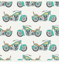 Line flat seamless color pattern motorcycle vector