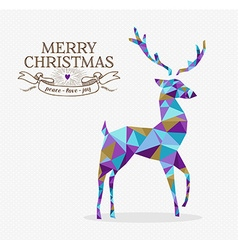 Merry christmas reindeer triangle hipster origami vector image