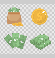 Money and coin set icons flat style isolated on vector