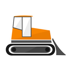 orange bulldozer in the flat crawler tractor with vector image vector image