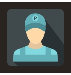 Parking attendant icon in flat style vector