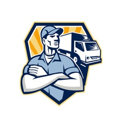 Removal Man Moving Delivery Van Crest Retro vector image vector image