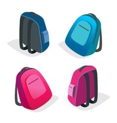 School bag Backpack Flat 3d isometric vector image