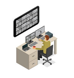 Security guard monitoring service isometric view vector