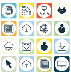 Set of 16 world wide web icons includes wifi vector