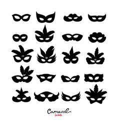 Set of masquerade silhouette masks isolated on vector
