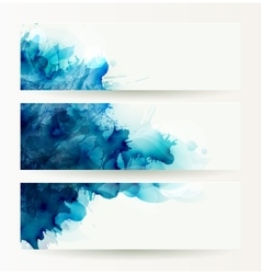 Set of three banners abstract headers with blue vector