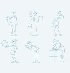 six schoolchild set vector image vector image