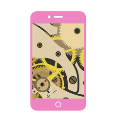 Smartphone with a vintage gear mechanism inside vector