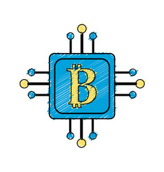 Square with circuit connection and botcoin symbol vector