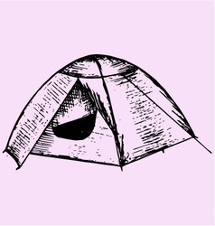Tourist tent vector