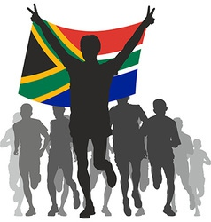 Winner with the South Africa flag at the finish vector image vector image