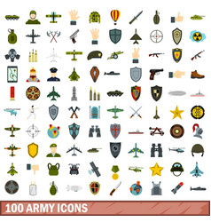 100 army icons set flat style vector