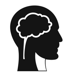 Head with brain icon simple style vector