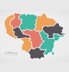 Lithuania map with states and modern round shapes vector
