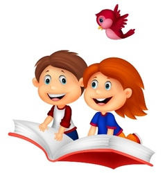 Happy Children cartoon riding book vector image