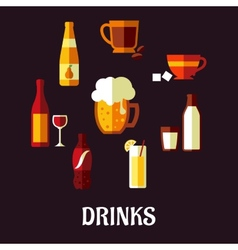 Drinks and beverages flat icons vector