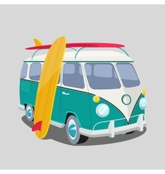 Surfer van poster or t-shirt graphics vector image