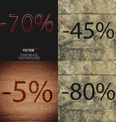 45 5 80 icon set of percent discount on abstract vector