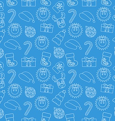 Christmas seamless doodle background blue vector