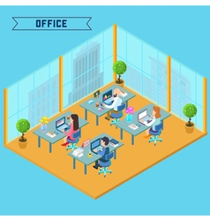 Modern office interior isometric business vector