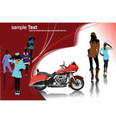 Girls and motorcycle vector
