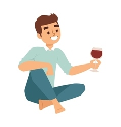 boy glass wine vector image