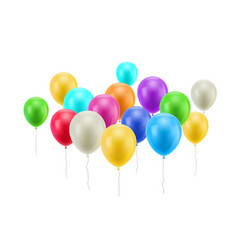 bunch flying balloons isolated vector image vector image