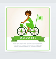 ecological lifestyle concept with girl riding a vector image