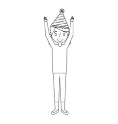 Elderly woman grandma with party hat and arms up vector