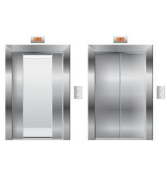 Elevator open and closed metal doors vector