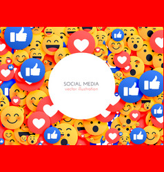 Emoji background smiley icons for social media vector