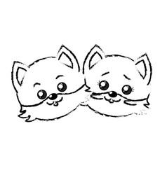 figure cute couple wild animal with beautiful vector image