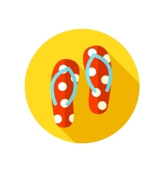Flip Flops flat icon with long shadow vector image vector image