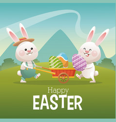 Happy easter card couple bunny egg landscape vector
