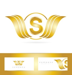 Letter s logo gold wings vector