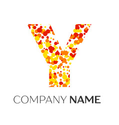 Letter y logo with orange yellow red particles vector