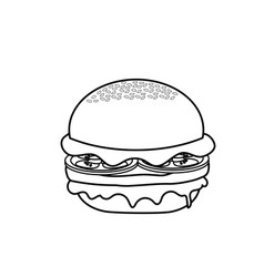 Line delicious hamburger fast food meal vector