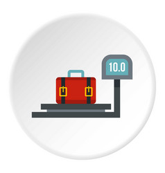 Luggage weighing icon circle vector