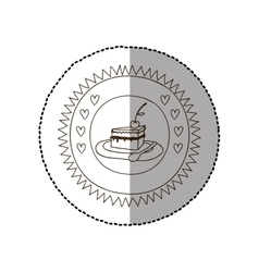 Monochrome circular frame with middle shadow vector