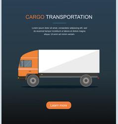 orange cargo delivery truck isolated on dark backg vector image