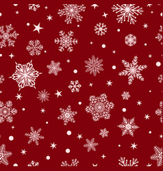 seamless pattern of snowflakes white on red vector image vector image