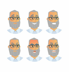 Senior expressions - flat set of images vector