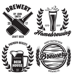 set of brewery logos labels badge templates with vector image vector image