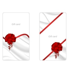 Set of two vertical elegant gift card with a silk vector image