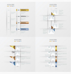 Timeline design 4 item gold bronze silver blue vector