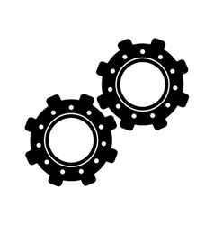 two gear wheel engine teamwork vector image
