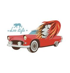 Wild cat retro car driver vector image vector image