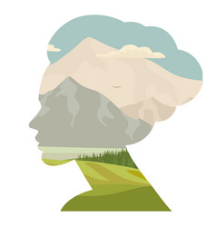 woman and nature double exposure face silhouette vector image vector image