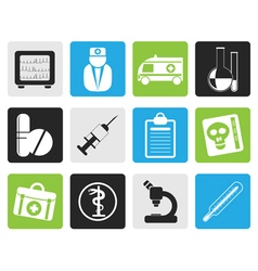 Black medical and healthcare icons vector